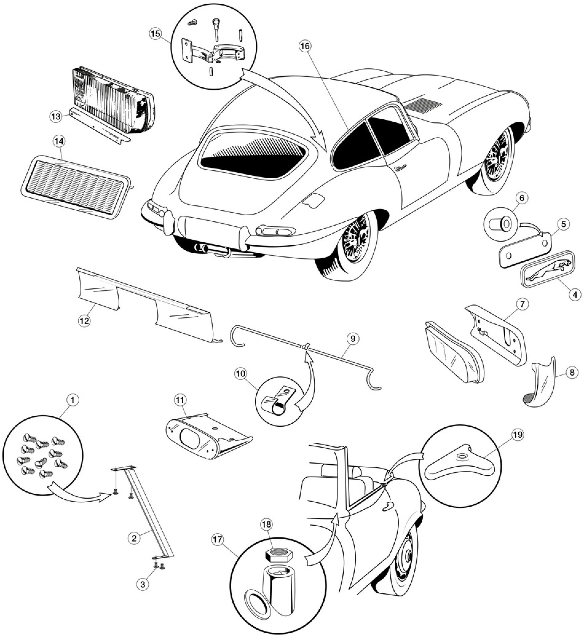 body chrome - e-type  1961-1975  - body  u0026 chassis - e-type  1961-1974  - jaguar