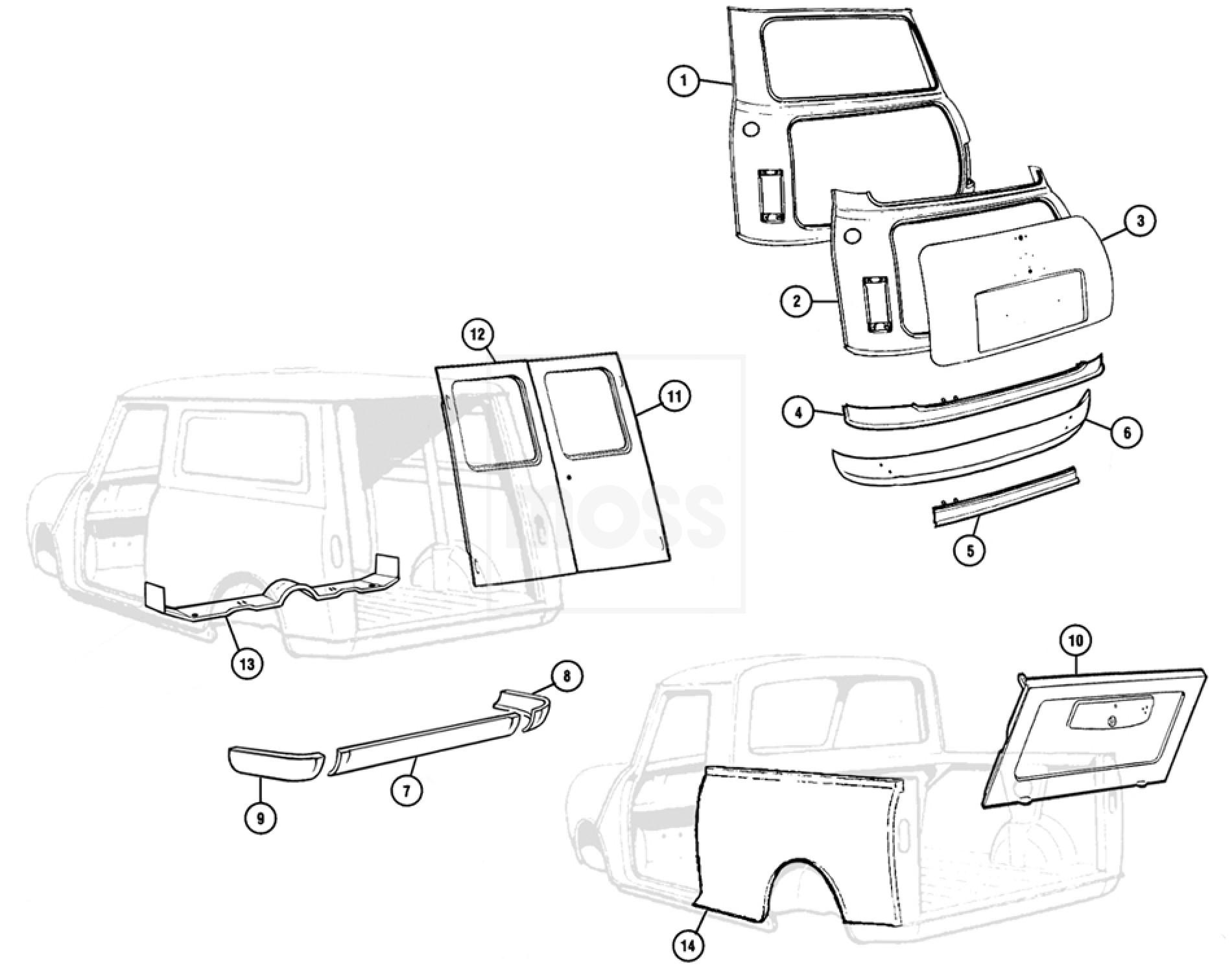 body panels rear saloon van pickup models mini Jaguar C-Type click here to zoom the image
