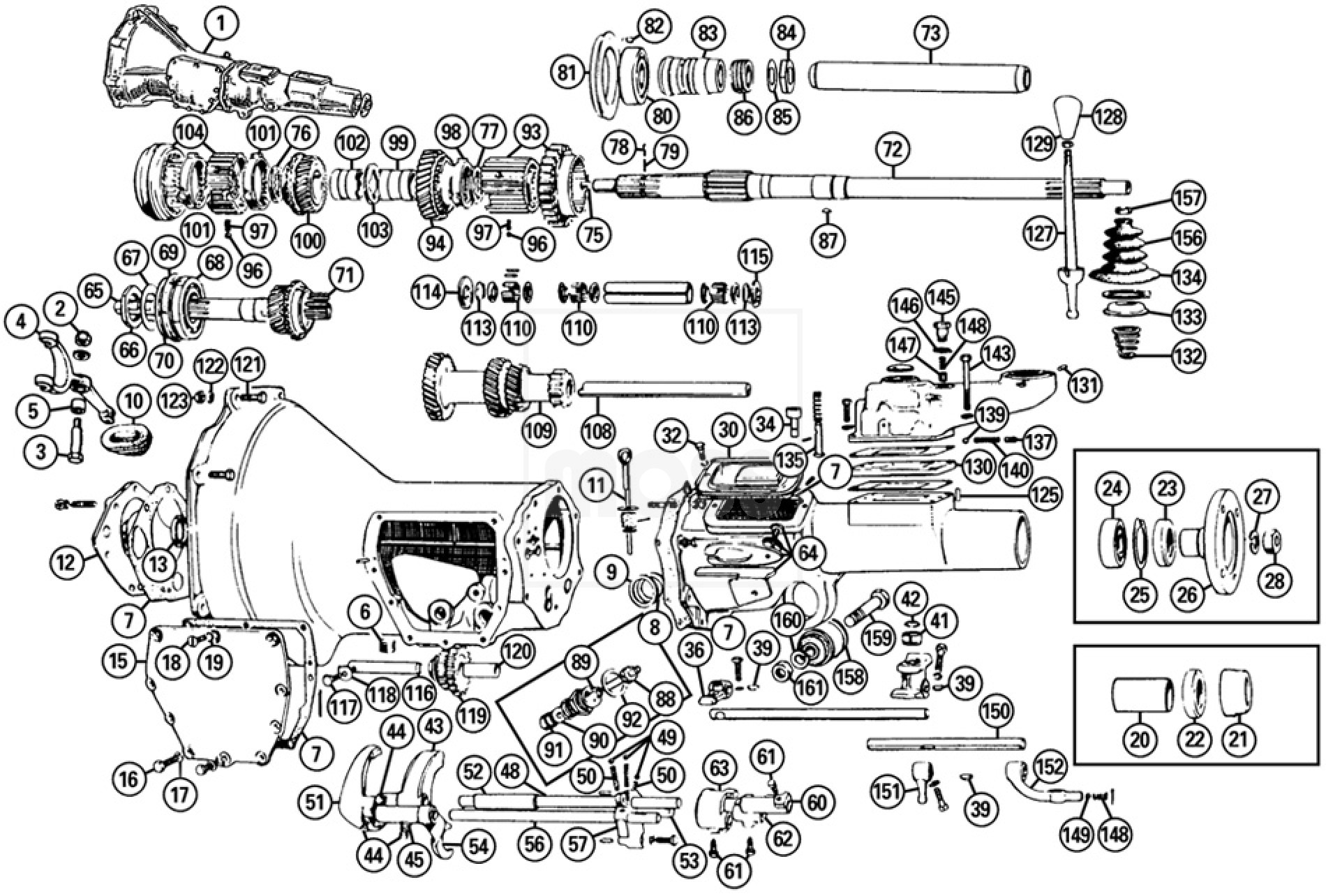 mgb transmission diagram gearbox & components: mga