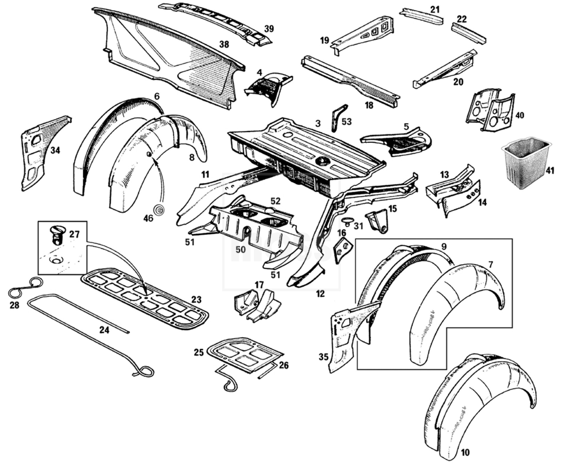 Body Panels Rear Inner Mgb