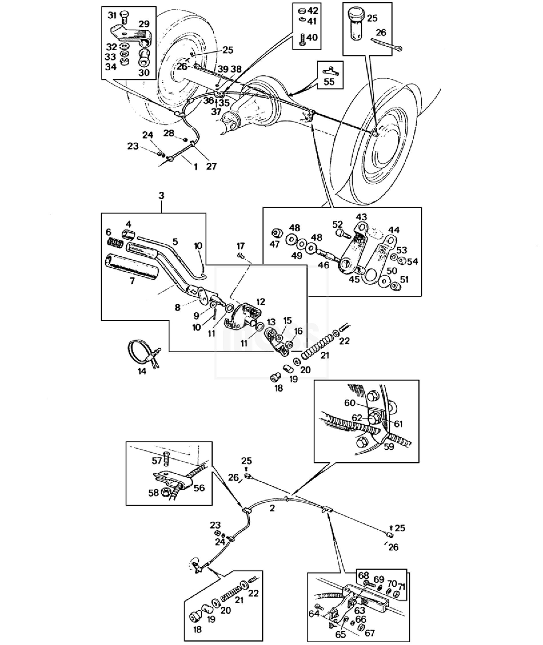 handbrake mechanism  u0026 cables  mgb