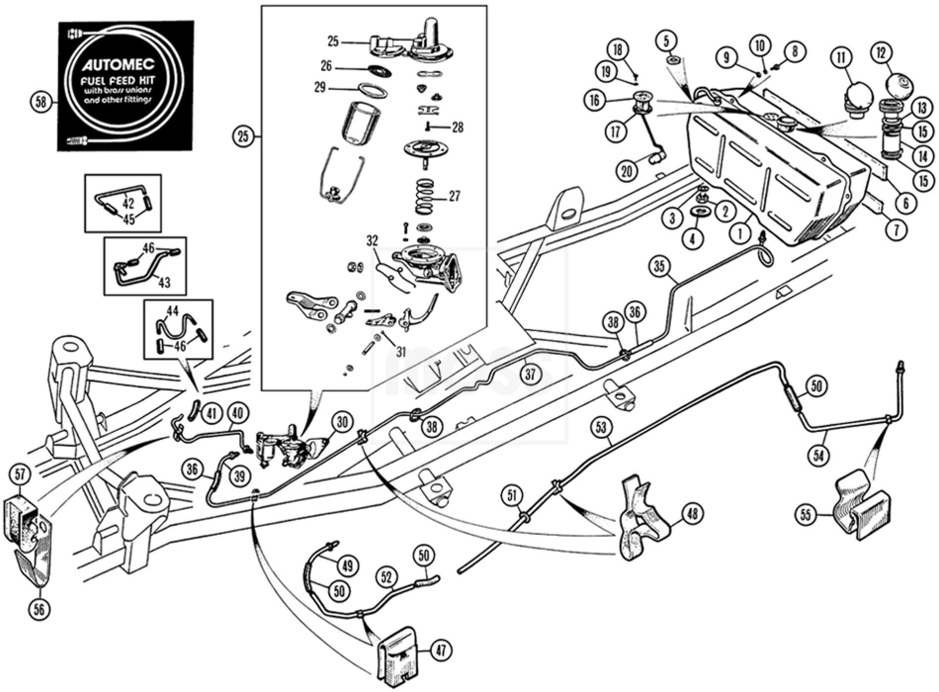 fuel tank  pipe  u0026 pump  tr4