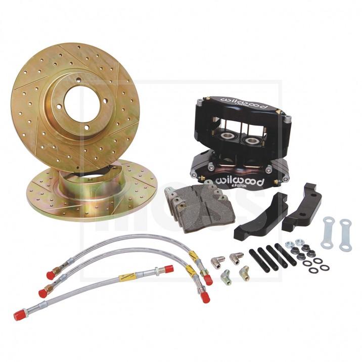 4 Pot Caliper Brake Conversion Kit - Drilled & Slotted