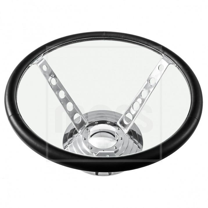 Steering Wheel Glass Top Table
