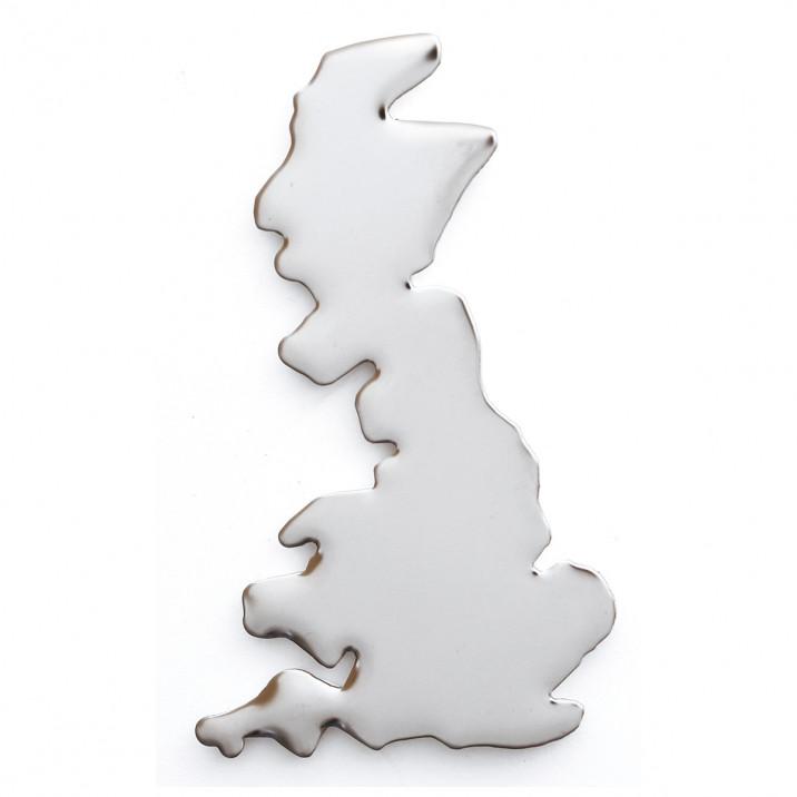 Badge, UK shape, stainless steel