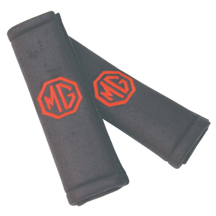 Seat Belt Shoulder Pads, black, red MG logo, pair