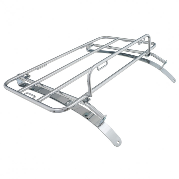 Boot Rack, bolt-on, chrome, with strap loops