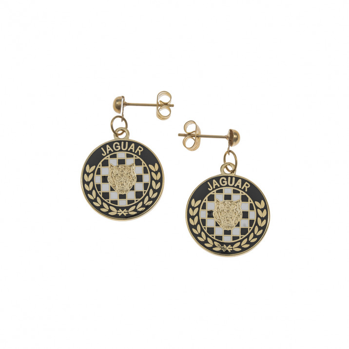 Earrings, Jaguar, Cloisonne