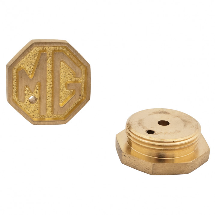 Dash Pot Caps, MG crested, pair