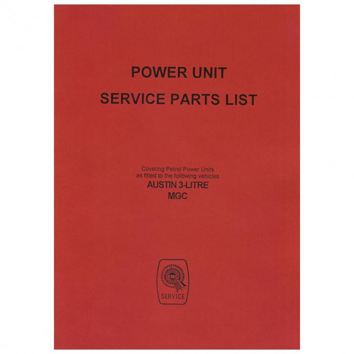 Parts Catalogue, power unit, Factory