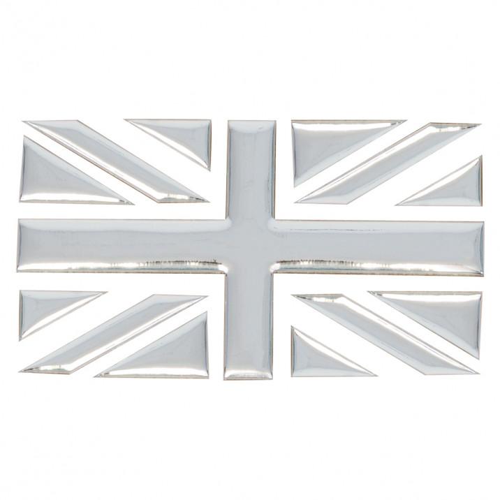 Badge, Union Jack, chrome effect, single