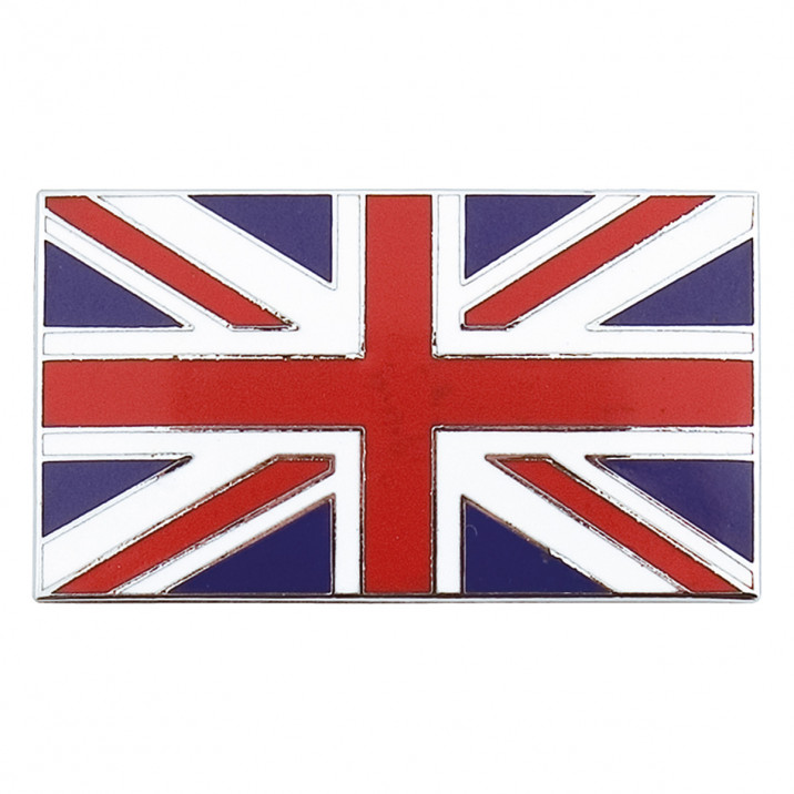 Badge, Union Jack, metal, self adhesive, pair, red/blue/white & chrome