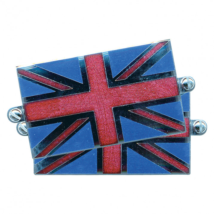 Badge, Union Jack, Cloisonné enamel, 35 x 57mm, pair