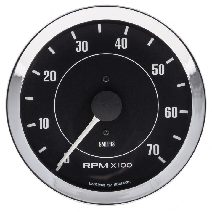 Gauge, tacho, electronic, 0-7000rpm, black, 100mm