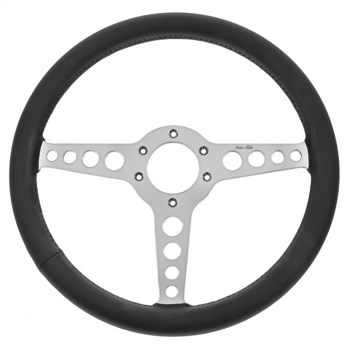 Steering Wheel, 14 inch, thin rim, flat, black leather, T spoke with holes, Moto-Lita