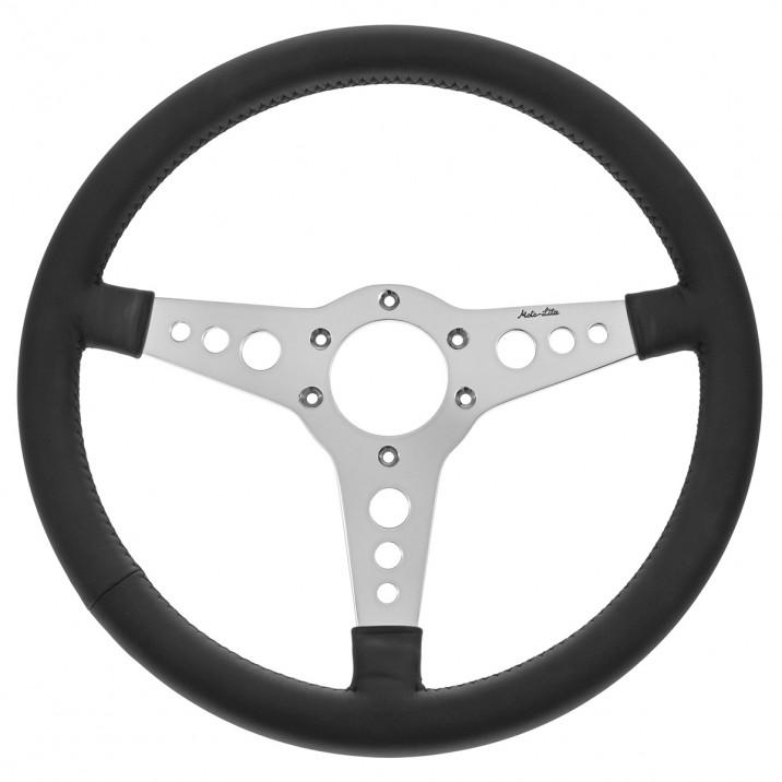 Steering Wheel, 14 inch, thin rim, flat, black leather, Y spoke with holes, Moto-Lita