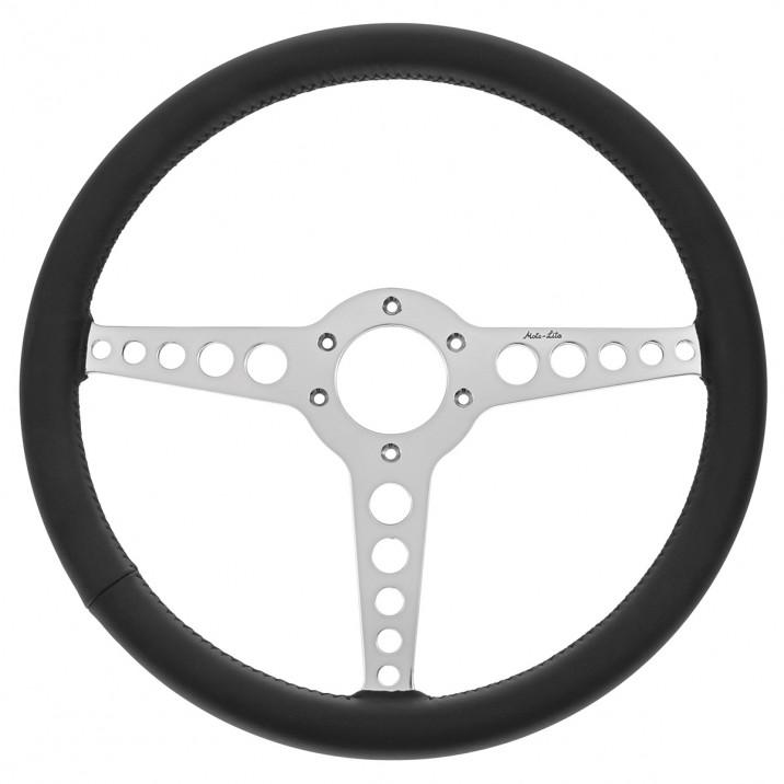Steering Wheel, 15 inch, thin rim, flat, black leather, T spoke with holes, Moto-Lita