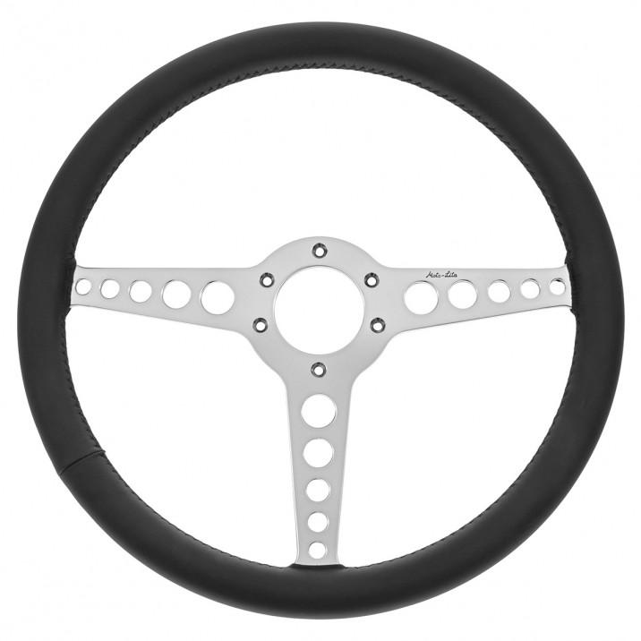 Steering Wheel, 15 inch, thin rim, flat, black leather, Y spoke with holes, Moto-Lita
