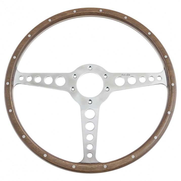 Steering Wheel, 15inch, 3 spoke, polished, riveted wood, T spoke, Moto-lita