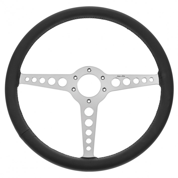 Steering Wheel, 15 inch, thin rim, flat, black leather, T spoke with holes, Moto-Lita