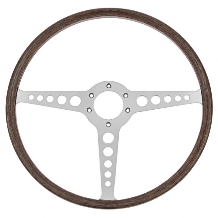 Steering Wheel, 16 inch, thin rim, flat, mahogany, T spoke with holes, Moto-Lita