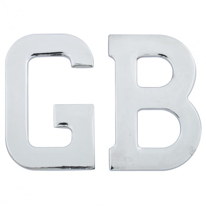 GB Letter Set, self adhesive, chrome