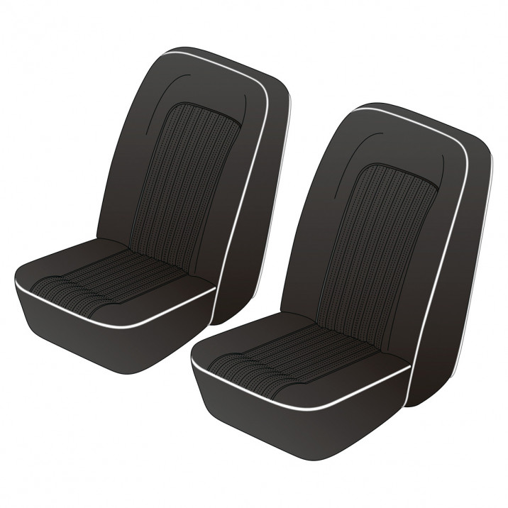 Seat Cover Set, vinyl, black/white piping, pair