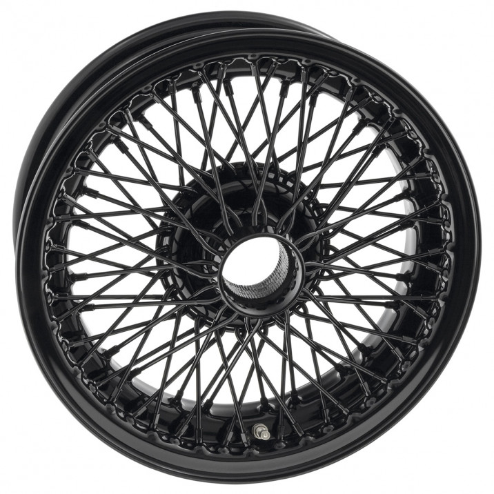 "Wire Wheel, black, 15"" x 5"", 72 spoke"