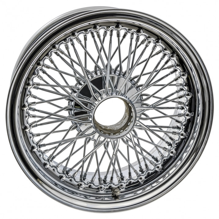 "Wire Wheel, chrome, 15"" x 6.5"", 72 spoke"