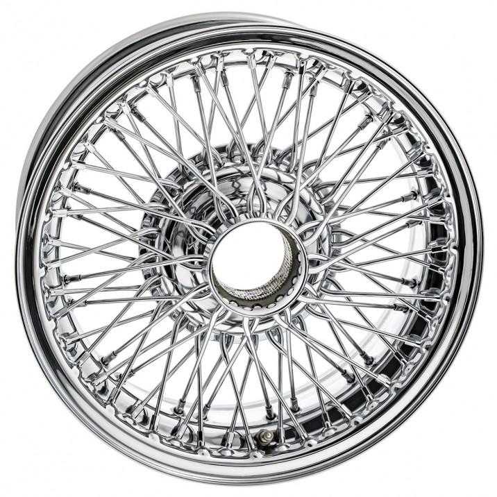 "Wire Wheel, chrome, 15"" x 6"", 72 spoke, in/out lace"