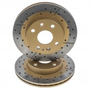 Brake Disc, slotted & cross drilled, front, pair