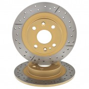 Brake Disc, slotted & cross drilled, rear, pair