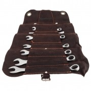 Spanner Set, imperial, leather tool roll, 8 piece