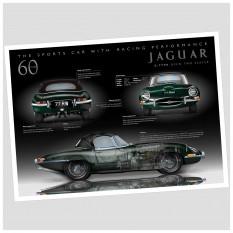 Jaguar E-Type 60th Anniversary Poster, Roadster