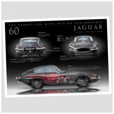Jaguar E-Type 60th Anniversary Poster, Coupe