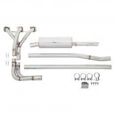 Exhaust system, with manifold, sports,  stainless steel, slip on