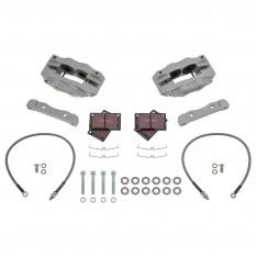 Jaguar E-Type [Series I] Brake Kit, front, 4 pot, silver, standard discs, Fosseway Performance