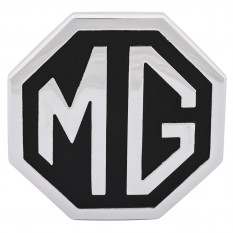 Badge, MG, silver on black, metal