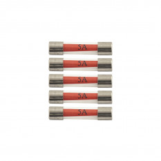 Fuses, 5A, glass, pack of 5