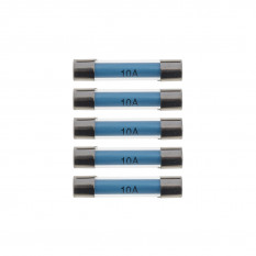 Fuses, 10A, glass, pack of 5