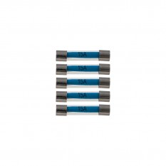 Fuses, 15A, glass, pack of 5