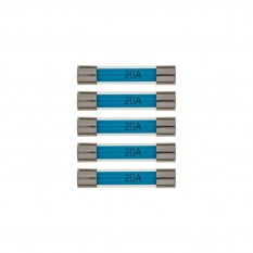 Fuses, 20A, glass, pack of 5