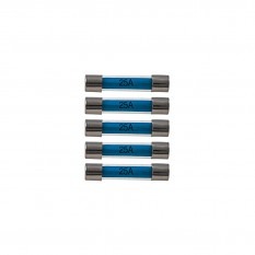 Fuses, 25A, glass, pack of 5