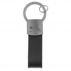 Keyring, leather loop, black & chrome