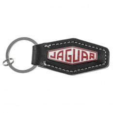 Keyring, Jaguar Heritage Logo, leather, black