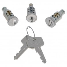 Lock Barrel & Key, set, 3 locks