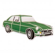 Lapel Pin Badge, MGB GT, green/chrome
