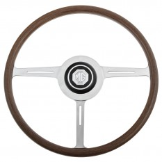 Steering Wheel, MGA factory style, wood rim, with centre pad and boss