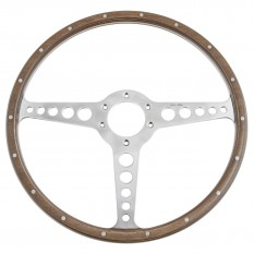 Steering Wheel, 15inch, 3 spoke, polished, riveted wood, Moto-lita