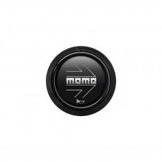 Button, horn, 2 contact, arrow matt black and silver, MOMO